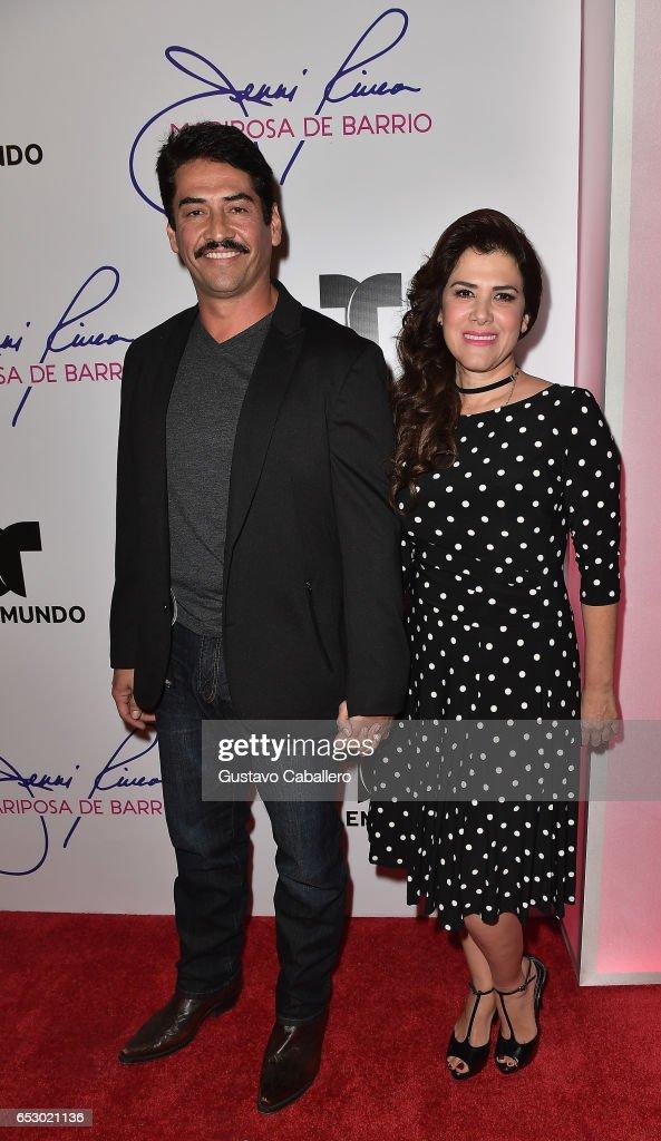 Gabriel Porras and Rosalinda Rodriguez are seen at the introduction of the cast of 'Jenni Rivera: Mariposa de Barrio' at Telemundo Studios on March 13, 2017 in Miami, Florida.
