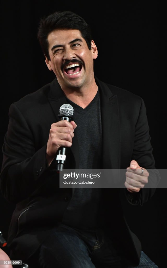 Gabriel Porras is seen at the introduction of the cast of 'Jenni Rivera: Mariposa de Barrio' at Telemundo Studios on March 13, 2017 in Miami, Florida.