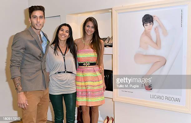 Gabriel Ricardo Alvarez, Roberta Benaglia and Mariana Palleiro are seen at Luciano Padovan Store during The Milan Vogue Fashion Night Out on...