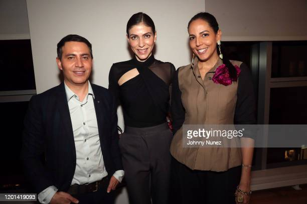 Gabriel Rivera-Barraza, Alida Boer, and Mayte Allende attend the Marias By Alida Boer Cocktail Reception on January 22, 2020 in New York City.