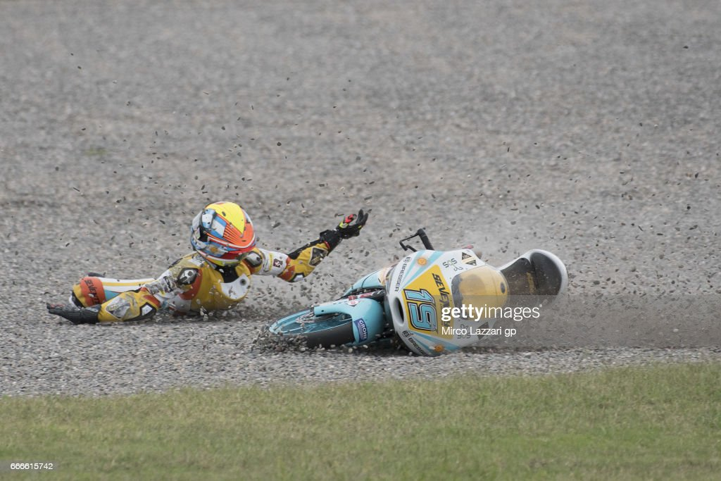 Gabriel Rodrigo of Argentina and RBA BOE Racing Team crashed out during the Moto3 race during the MotoGp of Argentina - Race on April 9, 2017 in Rio Hondo, Argentina.