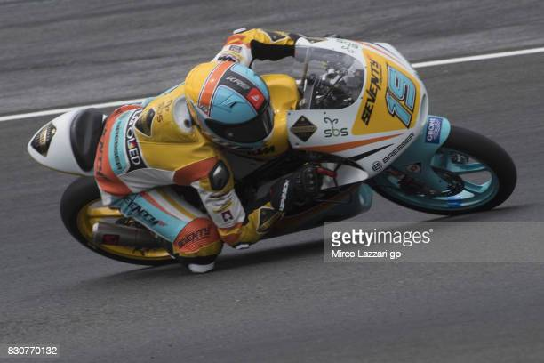 Gabriel Rodrigo of Argentina and RBA BOE Racing Team rounds the bend during the MotoGp of Austria Qualifying at Red Bull Ring on August 12 2017 in...