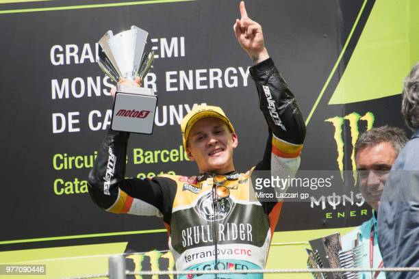 Gabriel Rodrigo of Argentina and RBA Boe Skull Rider celebrates the third place on the podium at the end of the Moto3 race during the MotoGp of...
