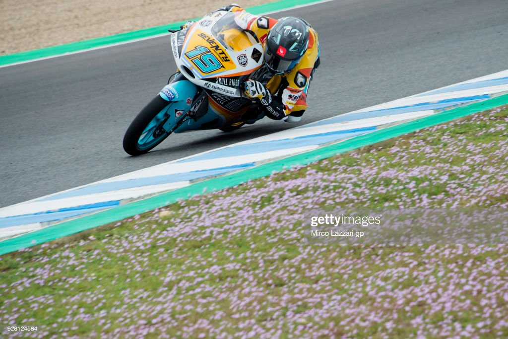 Gabriel Rodrigo of Argentina and RBA Boe Skull Rider KTM rounds the bend during the Moto2 & Moto3 Tests In Jerez at Circuito de Jerez on March 6, 2018 in Jerez de la Frontera, Spain.