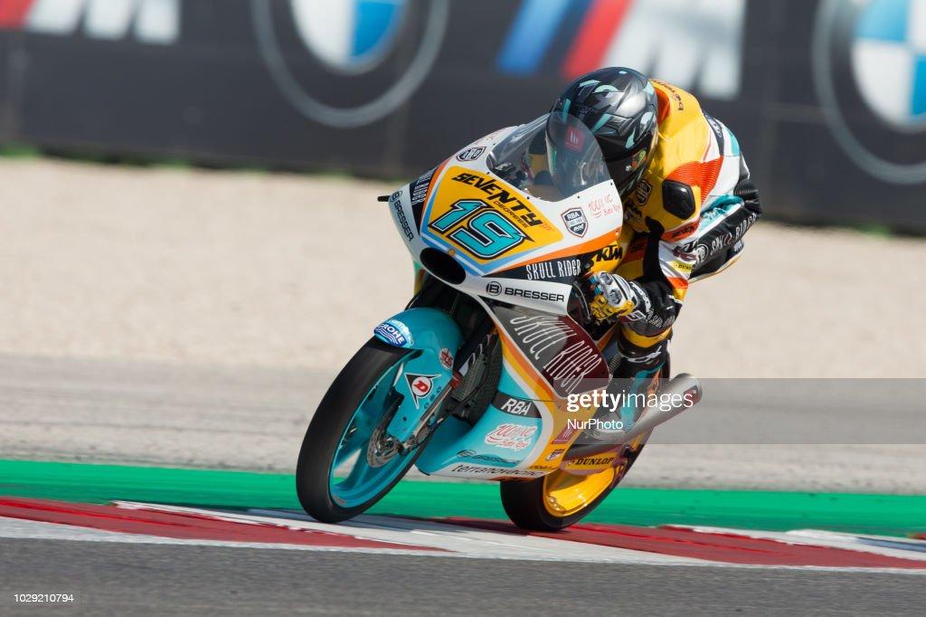 Gabriel Rodrigo of RBA BOE Skull Rider during the qualifying of Moto 3 of the OCTO Grand Prix of San Marino e della Riviera di Rimini, at Misano World Circuit Marco Simoncelli, on September 08, 2018 in Misano Adriatico, Italy