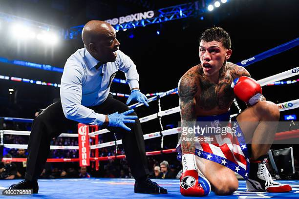 Gabriel Rosado kneels after being knocked down in the third round by David Lemieux at the Barclays Center on December 6 2014 in the Brooklyn Borough...