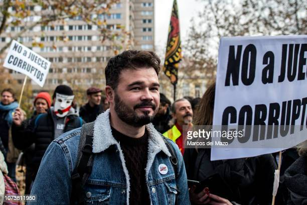 Gabriel Rufian deputy of ERC party supporting a protest for the release of jailed Catalan separatist leaders during a demonstration against the...