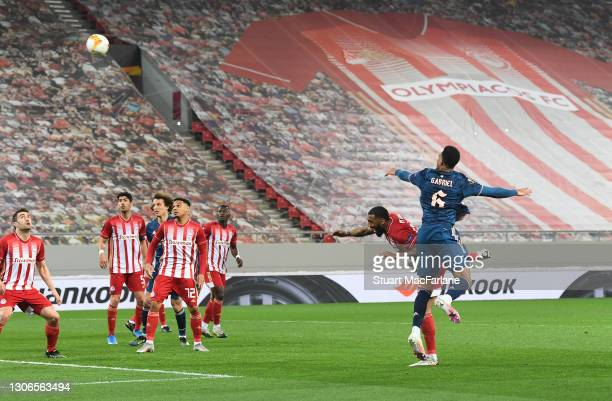 Gabriel scores the 2nd Arsenal goal during the UEFA Europa League Round of 16 First Leg match between Olympiacos and Arsenal at Karaiskakis Stadium...