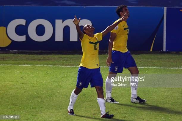 Gabriel Silva of Brazil celebrates his team's second goal during the FIFA U20 World Cup 2011 round of 16 match between Brazil and Saudi Arabia at...