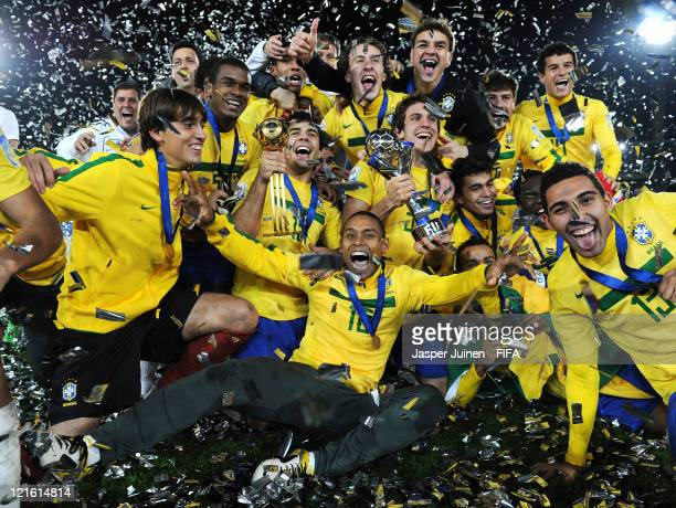 Gabriel Silva of Brazil celebrates on the pitch with his teammates after the FIFA U-20 World Cup Colombia 2011 final match between Brazil and...