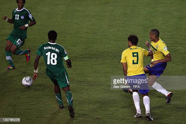 Gabriel Silva of Brazil scores his team's second goal during the FIFA U20 World Cup 2011 round of 16 match between Brazil and Saudi Arabia at Estadio...