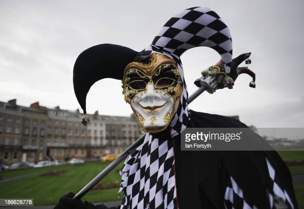 Gabriel Simpson from York dresses as a 'JesterIye' as he takes part in the Goth weekend on November 2, 2013 in Whitby, England. The Whitby Gothic...