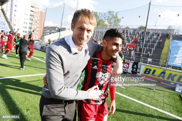 Gabriel Somi and head coach Graham Potter of Oestersunds FK celebrates after the victory against IFK Norrkoping during the Allsvenskan match between...