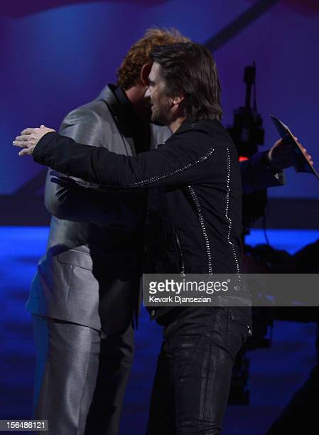 Gabriel Soto and singer Juanes onstage during the 13th annual Latin GRAMMY Awards held at the Mandalay Bay Events Center on November 15 2012 in Las...