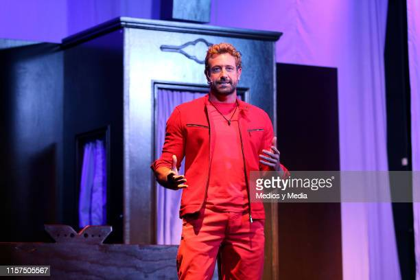 Gabriel Soto performs on stage during the premiere of 'La Homofobia No Es Cosa De Hombre' at Coyoacan Theatre on June 21 2019 in Mexico City Mexico