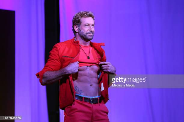 Gabriel Soto performs on stage during the premiere of 'La Homofobia No Es Cosa De Hombre' at Coyoacan Theatre on June 21 2019 in Mexico City Mexico