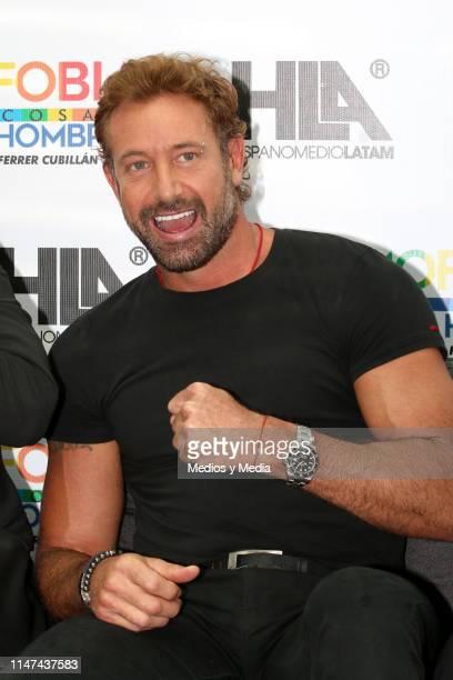 Gabriel Soto poses for photos during a press conference to present the play 'La homofobia no es cosa de hombres' on May 6 2019 in Mexico City Mexico