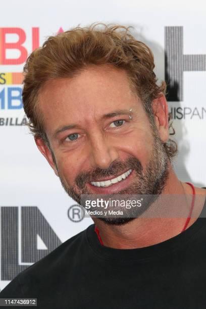 Gabriel Soto smiles during a press conference to present the play 'La homofobia no es cosa de hombres' on May 6 2019 in Mexico City Mexico