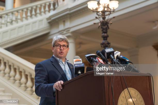 Gabriel Sterling, the Voting Systems Manager for the Secretary of State's Office speaks to the media on November 5, 2020 in Atlanta, Georgia. Ballots...