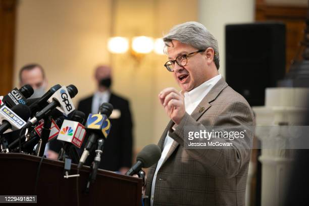 Gabriel Sterling, Voting Systems Manager for the Georgia Secretary of State's office, answers questions during a press conference on the status of...