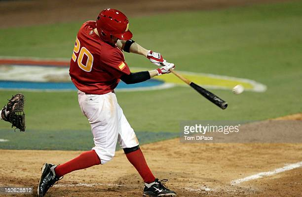 Gabriel Suarez of Team Spain bats against Team France during game 2 of the Qualifying Round of the 2013 World Baseball Classic at Roger Dean Stadium...