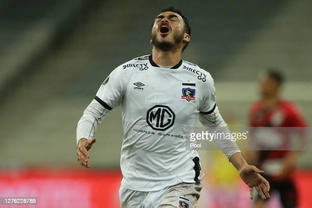 Gabriel Suazo of ColoColo reacts during a group C match of Copa CONMEBOL Libertadores 2020 between Athletico Paranaense and ColoColo at Arena da...