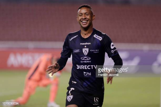 Gabriel Torres of Independiente del Valle celebrates after scoring the third goal of his team during a group A match of Copa CONMEBOL Libertadores...