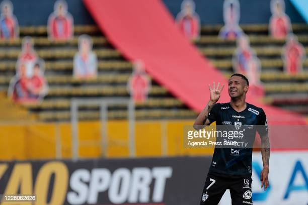 Gabriel Torres of Independiente del Valle celebrates the fourth goal during a match between El Nacional and Independiente del Valle as part of Liga...
