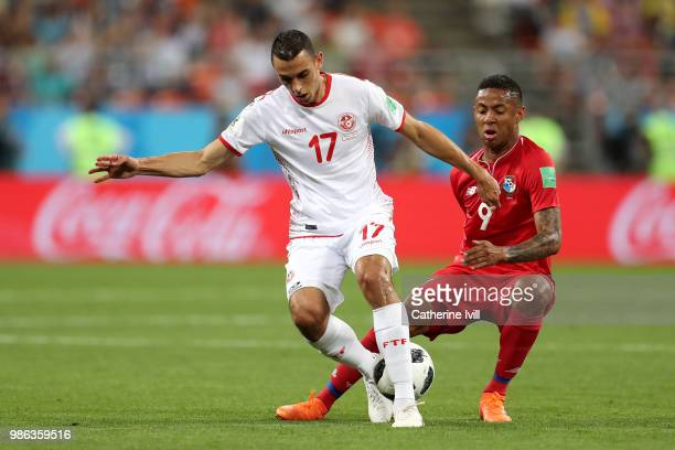 Gabriel Torres of Panama challenges Ellyes Skhiri of Tunisia during the 2018 FIFA World Cup Russia group G match between Panama and Tunisia at...