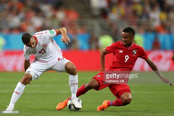 Gabriel Torres of Panama tackles Ellyes Skhiri of Tunisia during the 2018 FIFA World Cup Russia group G match between Panama and Tunisia at Mordovia...
