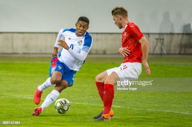 Gabriel Torres of Panama vies with Nico Elvedi of Switzerland during the International Friendly between Switzerland and Panama at the Swissporarena...