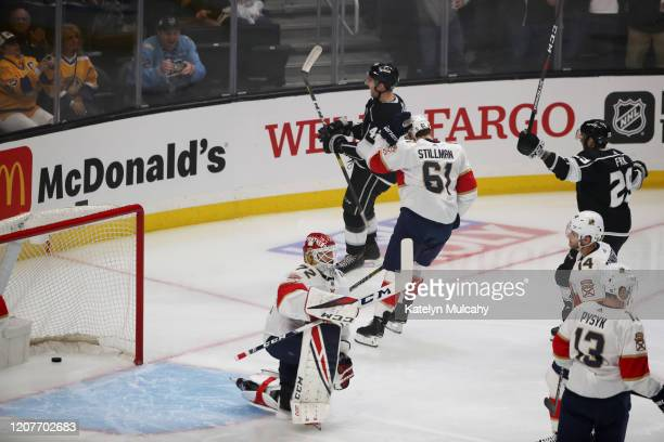 Gabriel Vilardi of the Los Angeles Kings celebrates his first career goal in a 54 win against the Florida Panthers at Staples Center on February 20...