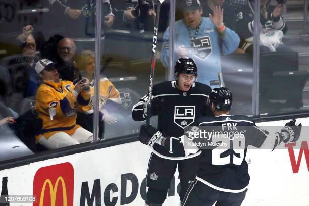 Gabriel Vilardi of the Los Angeles Kings celebrates his first goal with Martin Frk during the first period against the Florida Panthers at Staples...