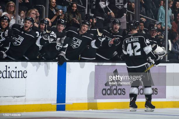 Gabriel Vilardi of the Los Angeles Kings celebrates his goal during his first NHL game with teammates during the first period against the Florida...