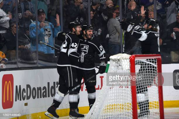 Gabriel Vilardi of the Los Angeles Kings celebrates his goal during his first NHL game with Martin Frk during the first period against the Florida...