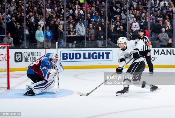 Gabriel Vilardi of the Los Angeles Kings challenges goaltender Pavel Francouz of the Colorado Avalanche during a shootout in the game at STAPLES...