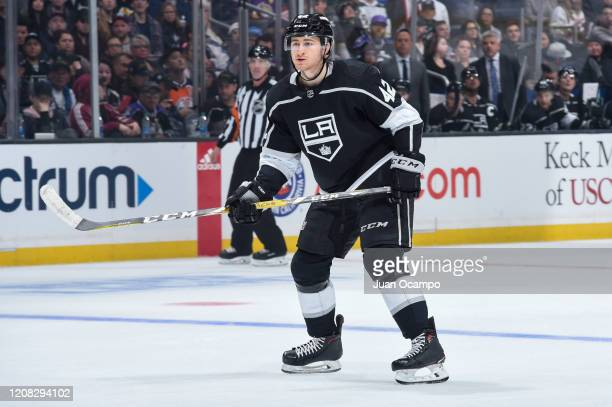 Gabriel Vilardi of the Los Angeles Kings gets ready for the play during the first period against the Edmonton Oilers at STAPLES Center on February 23...