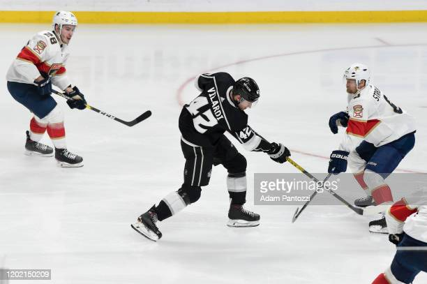 Gabriel Vilardi of the Los Angeles Kings shoots during the second period against the Florida Panthers at STAPLES Center on February 20 2020 in Los...
