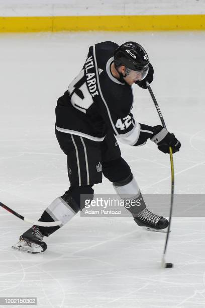 Gabriel Vilardi of the Los Angeles Kings shoots the puck during the second period against the Florida Panthers at STAPLES Center on February 20 2020...