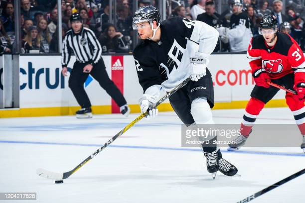 Gabriel Vilardi of the Los Angeles Kings skates with the puck during the first period of the game against the New Jersey Devils at STAPLES Center on...