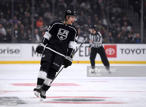 Gabriel Vilardi of the Los Angeles Kings smiles at the bench in his first NHL game during a 54 win over the Florida Panthers at Staples Center on...
