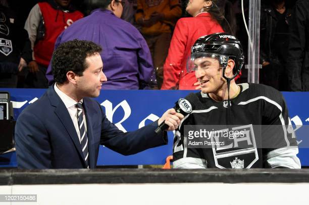 Gabriel Vilardi of the Los Angeles Kings speaks to Fox Sports about Los Angeles Kings victory and his first NHL game against the Florida Panthers at...
