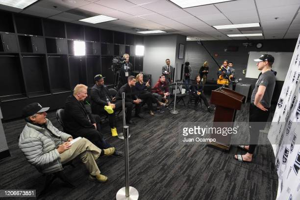 Gabriel Vilardi of the Los Angeles Kings speaks to the media after their victory against the Ottawa Senators at STAPLES Center on March 11 2020 in...
