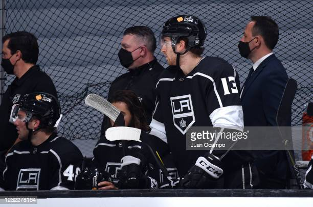 Gabriel Vilardi of the Los Angeles Kings watches the game during the third period against the Vegas Golden Knights at STAPLES Center on April 12,...