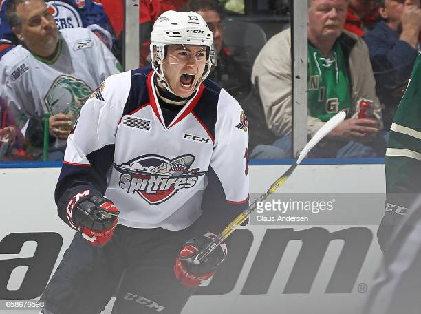 Gabriel Vilardi of the Windsor Spitfires celebrates a goal against the London Knights during Game Two of the OHL Western Conference Quarter Finals at...