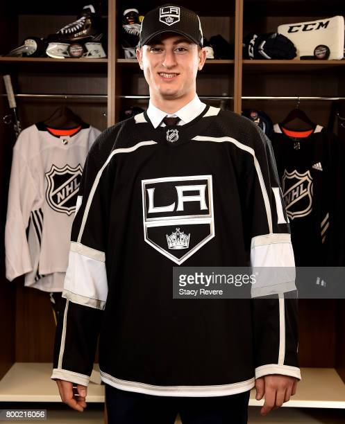 Gabriel Vilardi poses for a portrait after being selected 11th overall by the Los Angeles Kings during the 2017 NHL Draft at the United Center on...