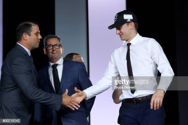 Gabriel Vilardi walks to the stage after being selected 11th overall by the Los Angeles Kings during the 2017 NHL Draft at the United Center on June...