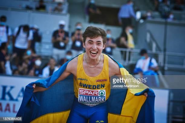 Gabriel Wallmark of Sweden celebrates in the Men's Triple Jump Final during European Athletics U20 Championships Day 4 at Kadriorg Stadium on July...