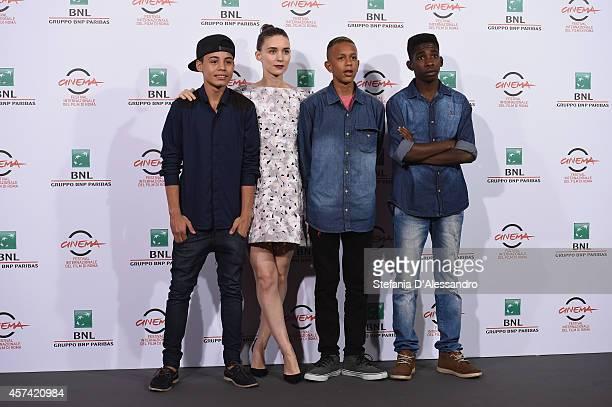Gabriel Weinstein Rooney Mara Eduardo Luis and Rickson Tevez attend 'Trash' Photocall during The 9th Rome Film Festival at Auditorium Parco Della...