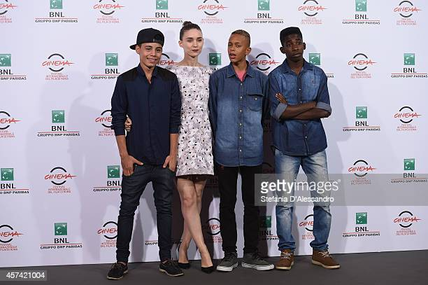Gabriel Weinstein Rooney Mara Eduardo Luis and Rickson Tevez attend 'Trash' Photocall during The 9th Rome Film Festival at Auditorium Parco Della...